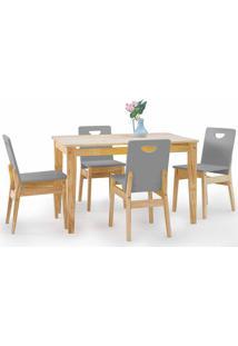 Mesa Com 4 Cadeiras De Jantar Tucupi 120Cm - Acabamento Stain Natural E Cinza Concreto