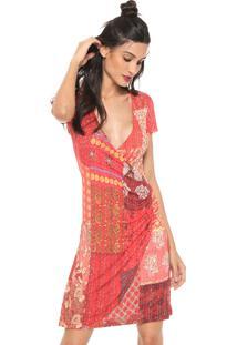 Vestido Desigual Curto Estampado Vermelho