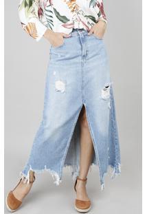af7c3567ed CEA. Saia Jeans Longa Feminina Com Fenda Destroyed Azul Claro