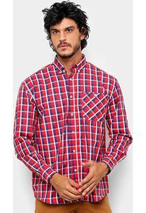 Camisa Xadrez Manga Longa Wrangler Masculina - Masculino-Vermelho+Azul