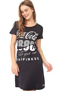 Vestido Coca-Cola Jeans Curto Aroma Lettering Preto