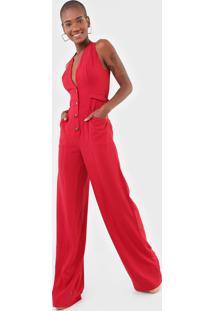 Macacão Colcci Pantalona Recortes Vermelho