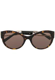 Versace Eyewear Óculos De Sol Redondo - Preto