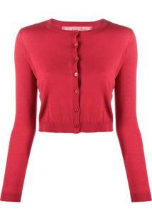 Redvalentino Cardigan Cropped Com Gola Redonda - Vermelho