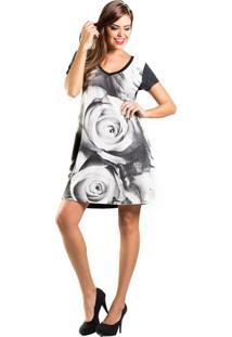 Vestido Estampa Floral Douglas Harris - Vestido Amplo Strass Estampa Floral Preto E BrancoDouglas Harris P