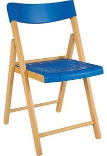 Cadeira Potenza De Madeira Tauarí Envernizada E Plástico Azul 2 Unidades - Tramontina