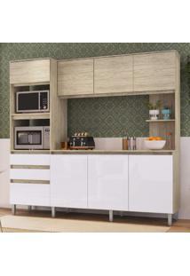 Cozinha Compacta 8 Portas 2 Gavetas Canela Decibal Malbec/Branco