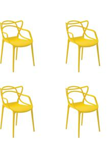 Kit 04 Cadeiras Allegra Amarela Rivatti - Amarelo - Dafiti