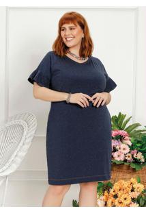 Vestido Plus Size Azul Com Bolso