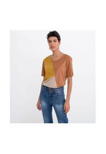 Blusa Em Suede Com Recortes Tricolor | Marfinno | Marrom | M