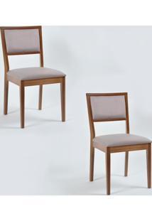 Kit 2 Cadeiras Iris Estofada Em Madeira Eucalipto Castanho/Cinza