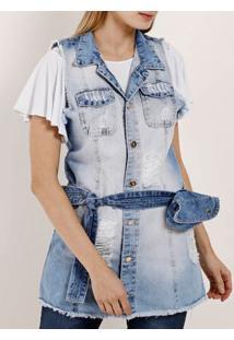 Colete Jeans Destroyed Feminino Azul