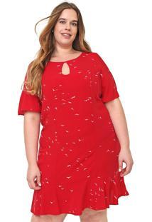 Vestido Lnd Lunender Mais Mulher Plus Curto Gaivotas Vermelho