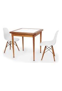 Conjunto Mesa De Jantar Em Madeira Imbuia Com Azulejo + 2 Cadeiras Eames Eiffel - Branco