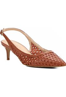 Scarpin Couro Shoestock Salto Médio Tressê - Feminino-Marrom