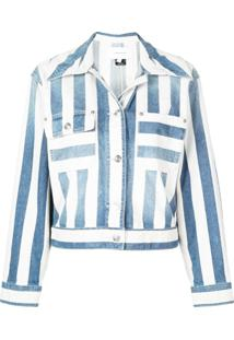 Current/Elliott Striped Denim Jacket - Azul