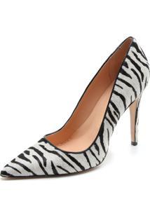 Scarpin Couro Luiza Barcelos Zebra Branca