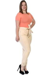 Calça Sawary Sarja Plus Size Feminina - Feminino-Amarelo