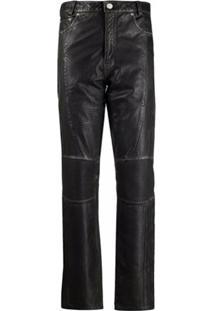 Han Kjøbenhavn Ribbed-Panel Leather Trousers - Preto