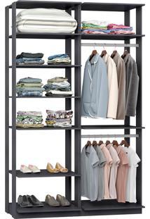 Closet Modulado C/ 2 Cabideiros Clothes 9010 – Be Mobiliário - Espresso