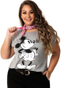 Blusa Estampa Com Glitter Cinza Disney