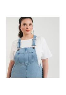Salopete Jeans Com Bolsos Curve & Plus Size | Ashua Curve E Plus Size | Azul | Eg