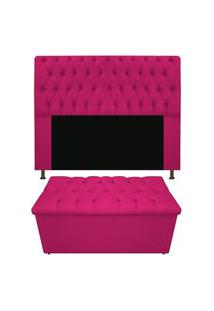Cabeceira Mais Calçadeira Baú King 190Cm Para Cama Box Sofia Suede Pink - Ds Estofados