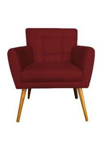 Poltrona Decorativa Onix Suede Vermelho - Ds Móveis