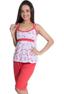 Pijama De Malha Pescador Ref. 243 - Feminino-Vermelho