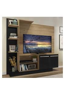 "Estante C/ Painel Tv 55"" E 2 Portas Denver Multimóveis Rustic/Preto"