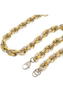 Corrente De Aço Inox Tudo Joias Modelo Trançada Dupla Cor - Masculino-Dourado