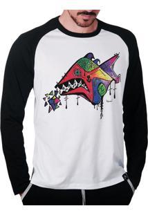Camiseta Raglan Manga Longa Tainha Times Santa Catarina Multicolorido