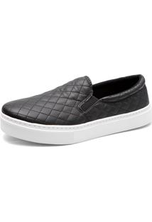 Tenis Slip On Matelasse Charlotte Shoes Preto