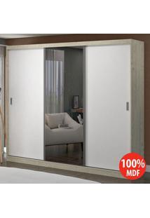 Guarda Roupa 3 Portas C 1 Espelho 100% Mdf 1904E1 Marfim Areia/Branco -Foscarini