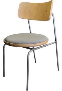Cadeira Lux Em Madeira Natural Assento Linho Cinza Base Metalica Cor Grafite - 50719 - Sun House