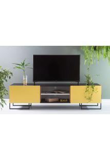 Rack Para Tv Preto Estilo Industrial 2 Portas Amarelas Pés De Metal Crosby 183X43,6X48,5 Cm