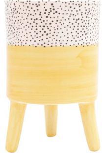 Vaso Bright Colors- Amarelo & Branco- 15Xø10Cm- Urban