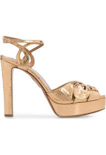 Aquazzura Sandália Com Plataforma Alta - Dourado