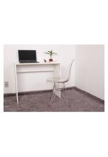 Kit Escrivaninha 90Cm Branca + 01 Cadeira Eiffel Base Metal - Transparente