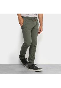 Calça Colcci Sarja Cordão Masculina - Masculino-Verde Militar