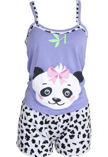 Baby Doll Ayron Fitness Panda Lilás Adulto