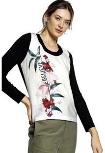 Blusa Energia Fashion Plus Size Manga Longa Feminina - Feminino-Preto+Branco