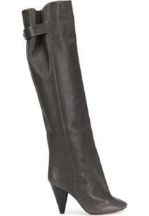 Isabel Marant Bota Over-The-Knee Lacine Com Salto - Cinza