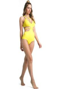 Body Com Bojo Vestem Gema Feminino - Feminino-Amarelo