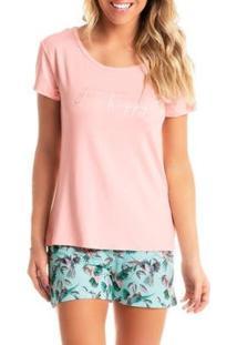 Pijama Summer Daniela Tombini Feminino - Feminino-Rosa+Verde