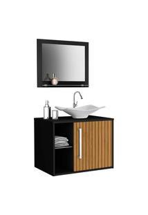 Gabinete Banheiro Baden C/ Cuba E Espelheira Preto Móveis Bechara