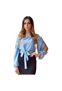 Blusa Hora De Diva Ciganinha Cropped Azul