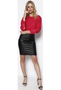 Blusa Com Recortes- Vermelha & Branca- Vip Reservavip Reserva