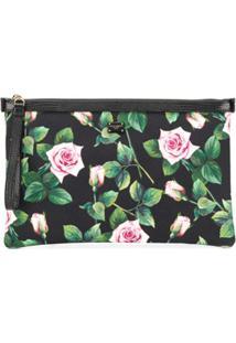 Dolce & Gabbana Clutch Com Estampa De Rosas - Preto