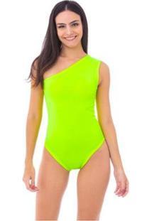 Body Moda Vicio Um Ombro So - Feminino-Amarelo